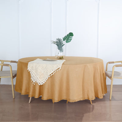 108 inch Premium Faux Linen Round Tablecloth, Slubby Textured Wrinkle Free Tablecloth