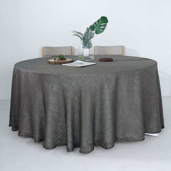 "120"" Charcoal Gray Linen Round Tablecloth 