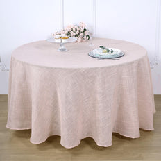 120 inch Linen Round Tablecloth, Slubby Textured Wrinkle Resistant Tablecloth - Blush | Rose Gold