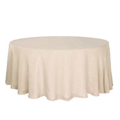 120 Beige Linen Round Tablecloth, Slubby Textured Wrinkle Resistant Tablecloth