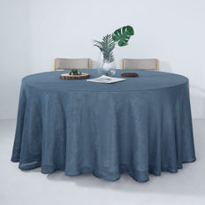 120 Blue Linen Round Tablecloth, Slubby Textured Wrinkle Resistant Tablecloth