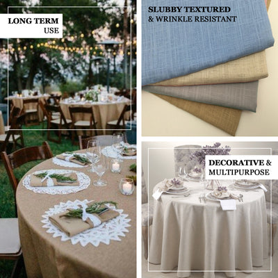 "120"" Beige Linen Round Tablecloth, Slubby Textured Wrinkle Resistant Tablecloth"