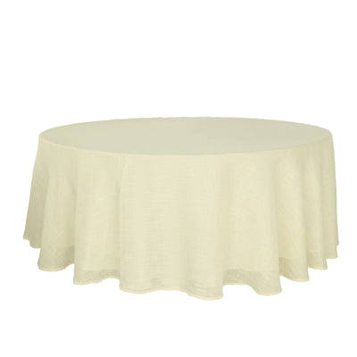 120 Ivory Linen Round Tablecloth | Slubby Textured Wrinkle Resistant Tablecloth