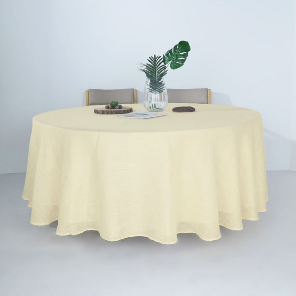 "120"" Ivory Linen Round Tablecloth 
