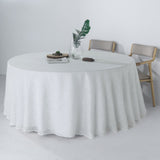 "120"" White Linen Round Tablecloth 
