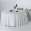 120 inch White Premium Faux Linen Round Tablecloth