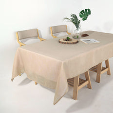 60x102 Beige Linen Rectangular Tablecloth | Slubby Textured Wrinkle Resistant Tablecloth