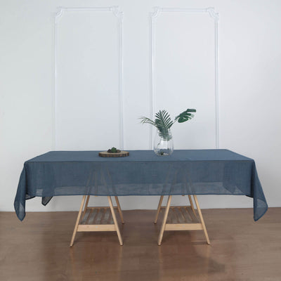 60x102 Inch Premium Faux Linen Rectangular Tablecloth, Slubby Textured Wrinkle Free Tablecloth