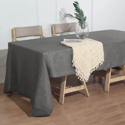 60x126 Inch Charcoal Gray Premium Faux Linen Rectangular Tablecloth