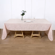 Linen Rectangular Tablecloth, Slubby Textured Wrinkle Resistant Tablecloth - Blush | Rose Gold
