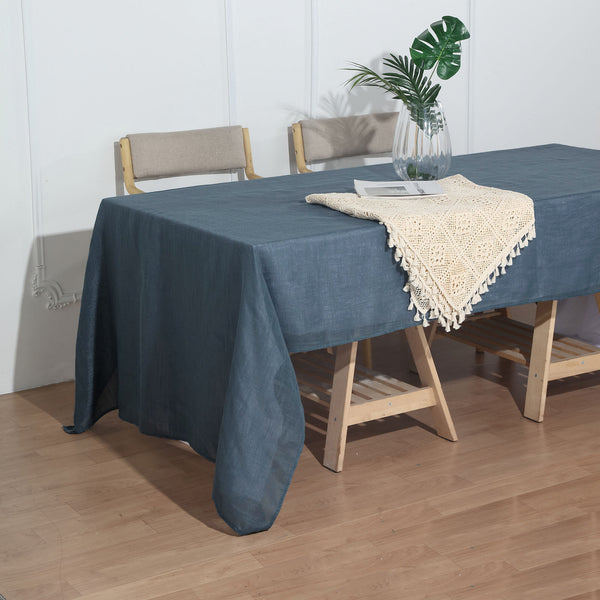 "60""x126"" Blue Linen Rectangular Tablecloth, Slubby Textured Wrinkle Resistant Tablecloth"