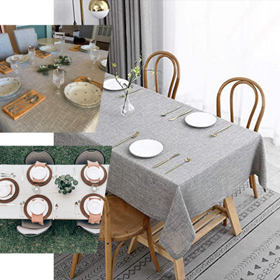 "60""x126"" Dusty Blue Linen Rectangular Tablecloth, Slubby Textured Wrinkle Resistant Tablecloth"