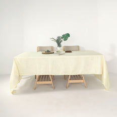 "60""x126"" Ivory Linen Rectangular Tablecloth, Slubby Textured Wrinkle Resistant Tablecloth"