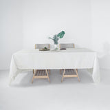60x126 White Linen Rectangular Tablecloth, Slubby Textured Wrinkle Resistant Tablecloth
