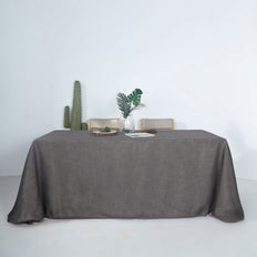 90x132 Charcoal Linen Rectangular Tablecloth | Slubby Textured Wrinkle Resistant Tablecloth