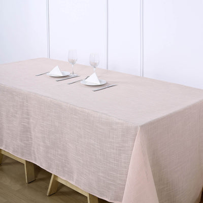 90x132inch Linen Rectangular Tablecloth, Slubby Textured Wrinkle Resistant Tablecloth