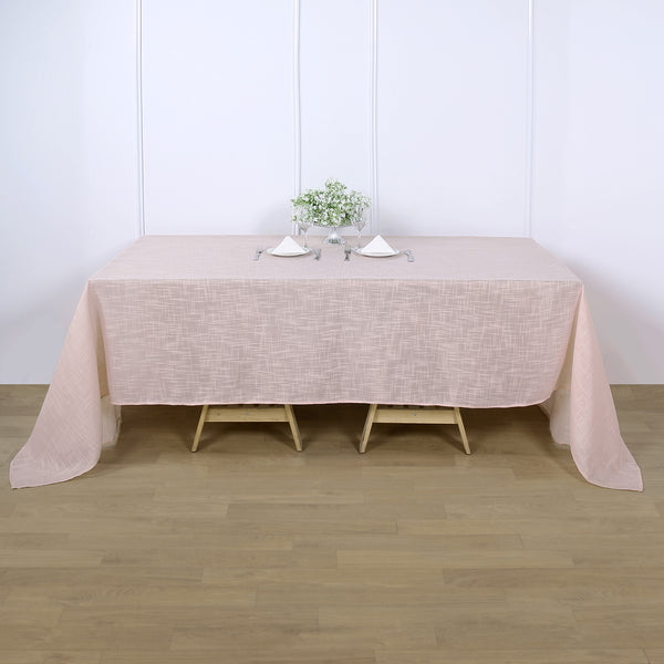 "90""x132"" Linen Rectangular Tablecloth, Slubby Textured Wrinkle Resistant Tablecloth - Blush 