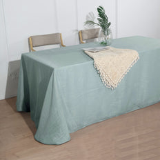 90x132 inch Dusty Blue Premium Faux Linen Rectangular Tablecloth