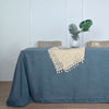 90x132 Blue Linen Rectangular Tablecloth |  Slubby Textured Wrinkle Resistant Tablecloth