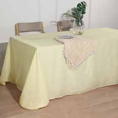 90x132 Ivory Linen Rectangular Tablecloth |  Slubby Textured Wrinkle Resistant Tablecloth