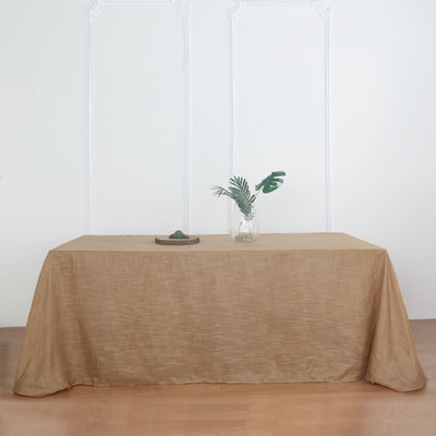 90x132 Natural Linen Rectangular Tablecloth |  Slubby Textured Wrinkle Resistant Tablecloth