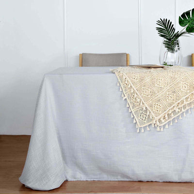 90x132 Silver Linen Rectangular Tablecloth |  Slubby Textured Wrinkle Resistant Tablecloth