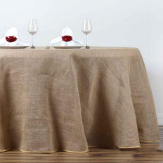 "108"" Natural Tone Chambury Casa Rustic Burlap Round Tablecloth"