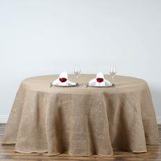 "132"" Natural Tone Chambury Casa Rustic Burlap Round Tablecloth"