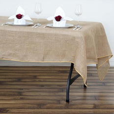 60x102 inch Natural Tone Chambury Casa Rustic Burlap Rectangle Tablecloth