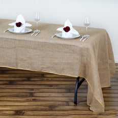 60x126 inch Natural Tone Chambury Casa Rustic Burlap Rectangle Tablecloth