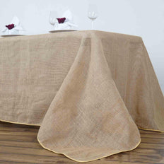 "90x156"" Natural Tone Chambury Casa Rustic Burlap Rectangle Tablecloth"