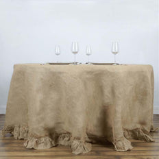 "120"" Natural Tone Premium Chambury Ruffled Burlap Round Tablecloth"