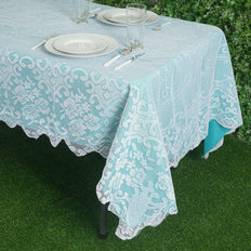 "60""x108"" Premium Lace White Rectangular Oblong Tablecloth"
