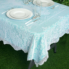 "60""x90"" Premium Lace White Rectangular Oblong Tablecloth"