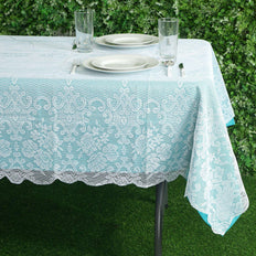 "60""x90"" White Floral Lace Tablecloths For Home Decoration"