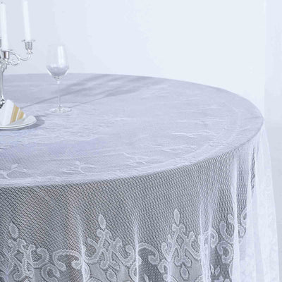 Lace Tablecloths, 108 inch Round Tablecloth, White Tablecloths | TableclothsFactory