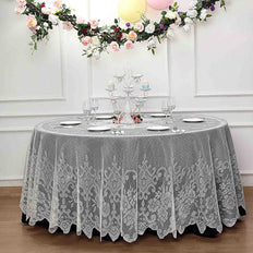 Lace Tablecloths, 120 inch Round Tablecloth, Ivory Tablecloths