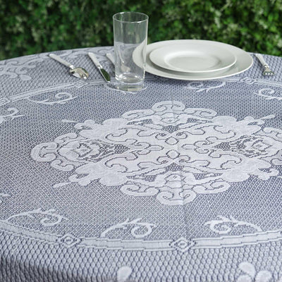"70"" Round Ivory Floral Lace Tablecloths For Home Decoration"