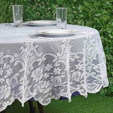"70"" Premium Lace White Round Tablecloth"