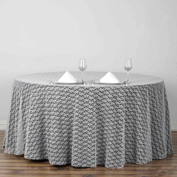 "120"" Ivory Round Polyester Floral Lace Tablecloth"