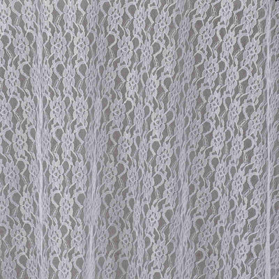 "120"" White Round Polyester Floral Lace Tablecloth"