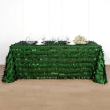90 inch x 132 inch Leaf Petal Taffeta Tablecloth Rectangle - Green