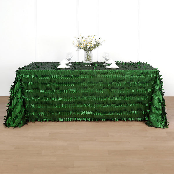 "90"" x 132"" Leaf Petal Taffeta Tablecloth Rectangle - Green"