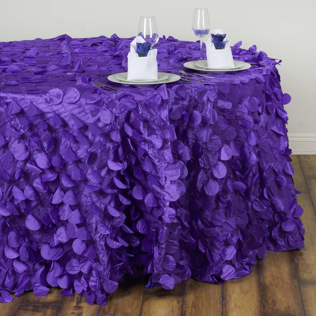 120 Quot Fancy Purple Wholesale Taffeta Round Petal Tablecloth For Wedding Catering Event