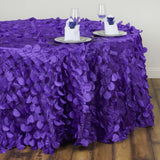 "120"" Fancy PURPLE Wholesale Taffeta Round Petal Tablecloth For Wedding Catering Event Party Linens"