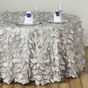 "120"" Fancy SILVER Wholesale Taffeta Round Petal Tablecloth For Wedding Catering Event Party Linens"