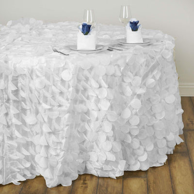 "120"" Fancy WHITE Wholesale Taffeta Round Petal Tablecloth For Wedding Catering Event Party Linens"