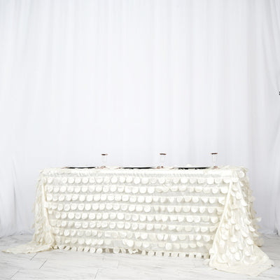 "90x132"" Ivory Flamingo Petals Taffeta Rectangle Tablecloth 
