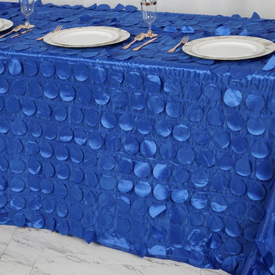 "90x132"" Royal Blue Flamingo Petals Taffeta Rectangle Tablecloth"