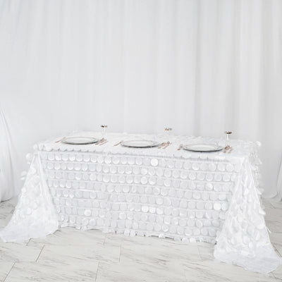 "90x132"" White Flamingo Petals Taffeta Rectangle Tablecloth"